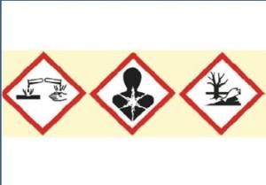 Chemie-Etiketten mit GHS-Symbolen