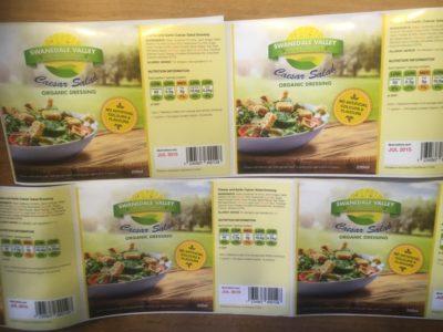 farbige Ausgabe von Fertigsalat-Etiketten in matt und auf Glossy-Material