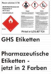 GHS Einzelblatt-Etiketten mit Text