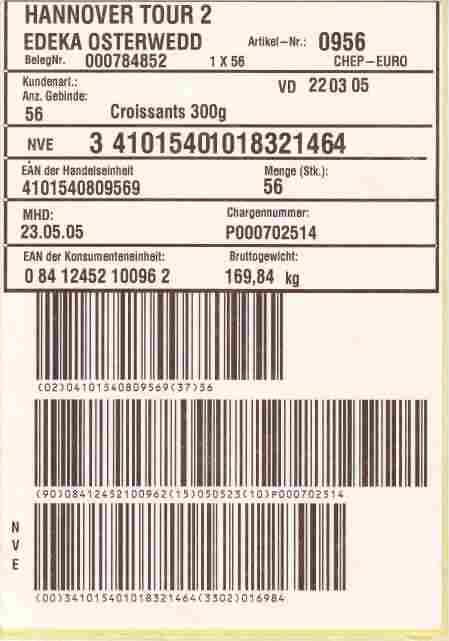 GS1-128 Versand-Etikett
