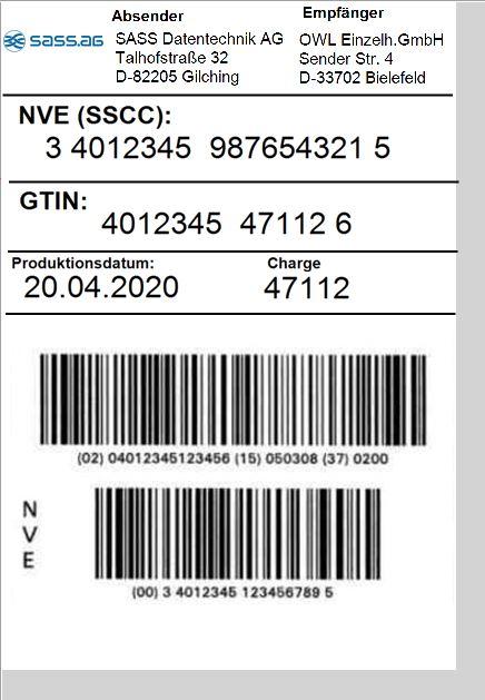 GS1-SSCC/NVE-Label