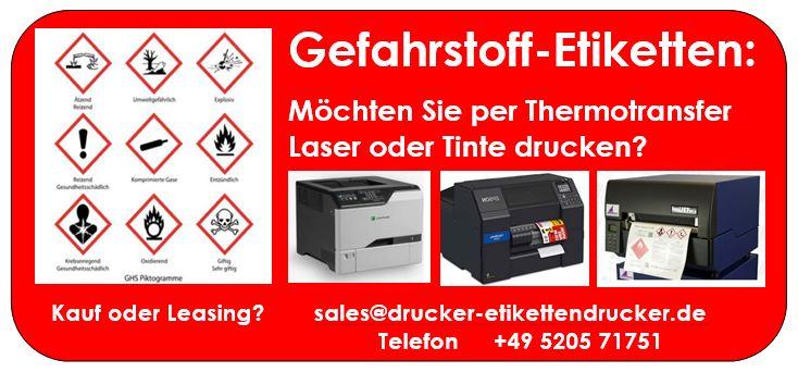 Gefahrstoff-Etiketten per Laser-, Tinte- oder Thermotransfer-Druck