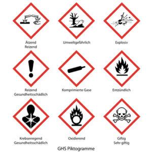 Gefahrstoffkennzeichnung mit GHS Piktogramme