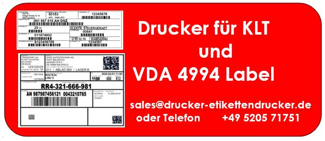 Global Transport Label nach VDA 4994 und KLT1 müssen auf Karton / festem Papier ausgegeben sein