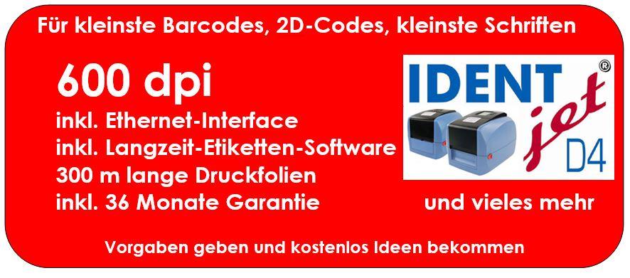 Barcode-Drucker IDENTjet D4 mit 600 dpi