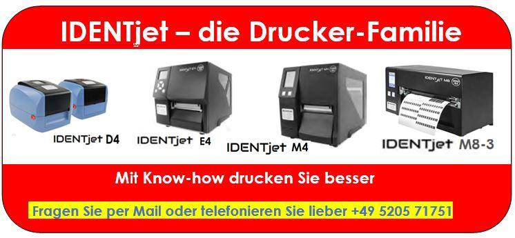 IDENTjet D4, E4, M4 und M8 - perfekte Drucker aus einer Familie