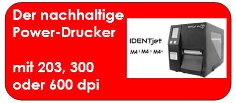 IDENTjet M4 mit 203, 300 oder 600 dpifür große Volumina