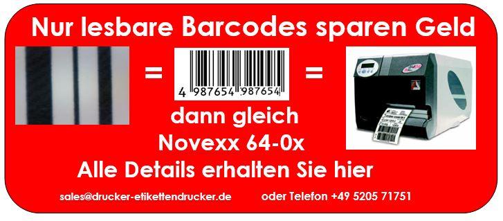 NOVEXX 64-04 Etikettendrucker erhöhen Ihre Sicherheit in der Barcode-Ausgabe