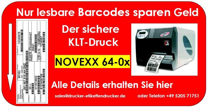 NOVEXX 64-05 Etikettendrucker erhöhen Ihre Sicherheit in der Barcode-Ausgabe.