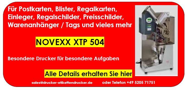 NOVEXX XTP 804 für Karten, Postkarten, Blister, Einleger, Regalkarten, Regalschilder, Preisschilder, Warenanhänger / Tags