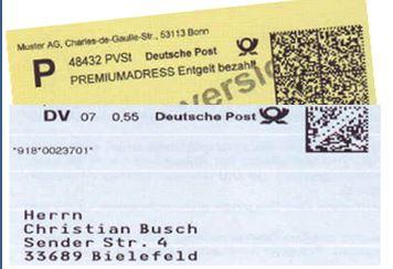 Post-Etiketten mit Datamatrix-Code