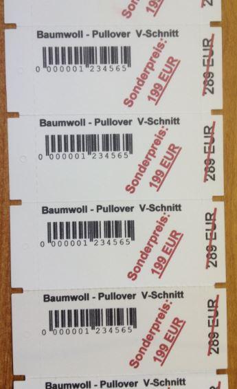 Preis-Etiketten für die Textil-Fertigung