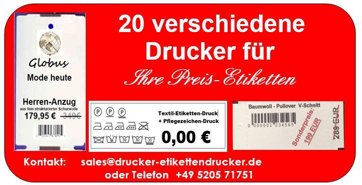 Beispiel Preisetiketten - allein dafür gibt es 20 verschiedene Drucker