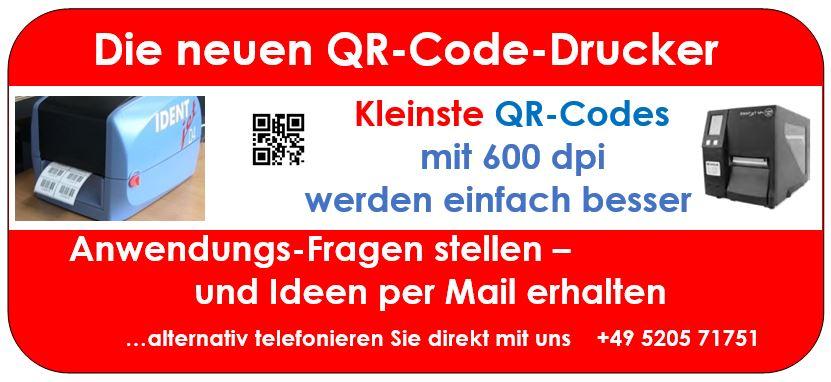 Feuerwehr-Etikettierung mit kleinem QR-Code - dann 600 dpi
