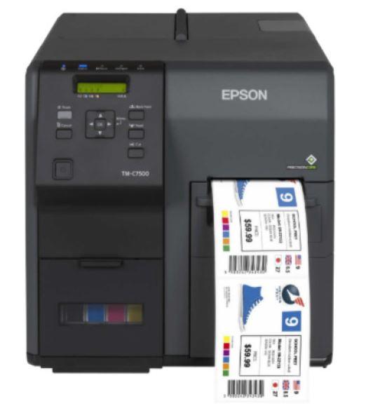 Epson C7500 Inkjet -Drucker für die farbige Ausgabe von Salatbecher-Etiketten und Tags