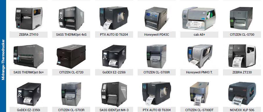 Drucker-Auswahl + Support + Etiketten + Service + Zubehör