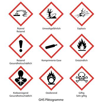 GHS-Aufkleber / Etiketten mit Piktogramme als Selbstkleber