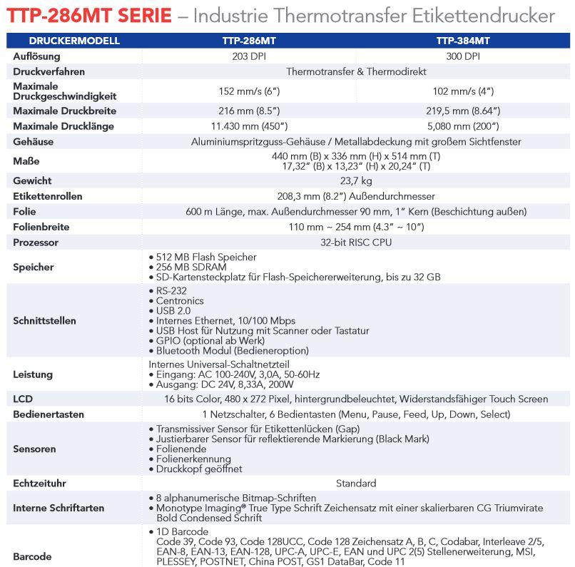 TTP-286MT sind Breitformat-Etikettendrucker, erschwinglich und bedienerfreundlich