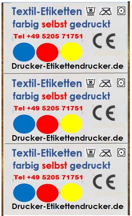 Textil-Etikett farbig bedruckt
