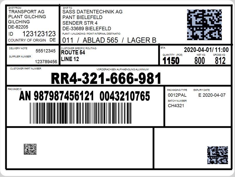 Warenanhänger bzw. Label (VDA 4994) sind zur Kennzeichnung von Versandeinheiten