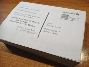 Blutspendetermin-Einladungskarten als Serienpostkarten rationell drucken