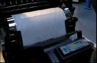 Blick in einen Zeilenmatrixdrucker