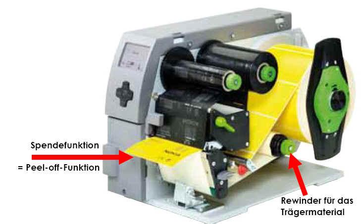cab-Etiekttendrucker mit Spende-Funktion + Rewinder